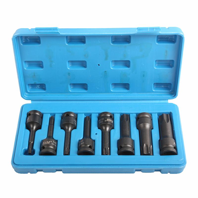 Conjunto de soquetes e chaves-brocas de soquete pneumáticas Dr. 8pc-1/2